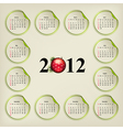 new years calendar weeks are located on round stic vector image vector image