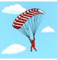 Man flying on a parachute comic book vector image
