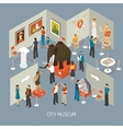 Museum Exhibition Isometric Composition Poster vector image