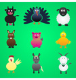 colorful farm animals simple icons set eps10 vector image