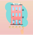 hand giving five star rating to hotel hand vector image
