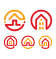 house abstract logos set red and yellow unusual vector image