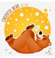 Carefree bear lies and plays with flower vector image vector image
