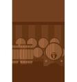 Background of wine barrels in cellar vector image