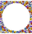 floral frame of colorfull pansies flowers vector image