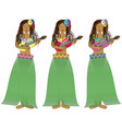 Hawaiian hula girls with guitars vector image