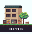 pixel shopping vector image