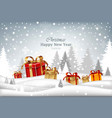winter holidays card with gifts merry christmas vector image
