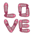 Words of love Sports poster with sneakers vector image