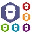 Welding mask icons set vector image