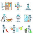 Housekeeping household robot doing home cleanup vector image