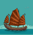 junk floating on the sea waves hand drawn design vector image
