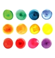 Set of watercolor circles in vibrant colors vector image