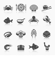 Seafood icons set black vector image