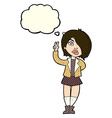 cartoon cool girl giving peace sign with thought vector image