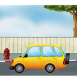 cartoon yellow car vector image