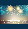 colorful firework on city landscape background vector image