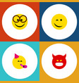 flat icon face set of party time emoticon winking vector image