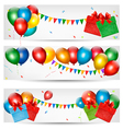 Holiday banners with colorful balloons vector image