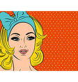 Pop Art of girl with blonde hair vector image