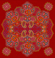 red paisley floral seamless texture vector image