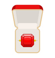 Ring with Ruby Open box for jewelry for betrothal vector image