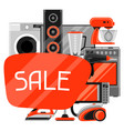 Sale background with home appliances household vector image