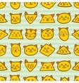 Seamless pattern with orange cat faces on striped vector image