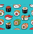 Sushi and sashimi seamless pattern in kawaii style vector image
