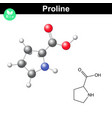 Proline heterocyclic amino acid vector image