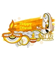 Lady burning diya on happy Diwali Holiday doodle vector image vector image