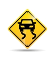road sign slippery car icon vector image