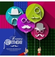 Birthday card Colorful balloons in flat design vector image