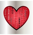 Love card Heart shape with i love you text vector image