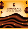 abstract chocolate background with drops brown vector image