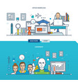 office workplace and leadership qualities vector image