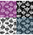 Set of seamless pattern with retro design china te vector image