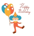 Stylish Happy birthday card with cute clown vector image