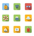 Tourism at sea icons set flat style vector image