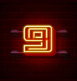 neon city font number 9 vector image