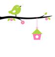 Cute spring Bird on tree branch vector image vector image