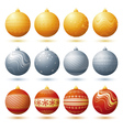 twelve christmas ball over white background vector image