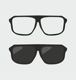Black hipster sunglasses and ner glasses on grey vector image