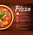 Pizza recipe background with ingredients vector image