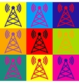 Antenna sign Pop-art style icons set vector image