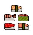 Asia food icon set with sushi rolls sashimi noodle vector image