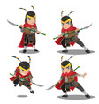 china armor warrior character set vector image