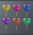 colorful festive balloons of shape of heart on vector image