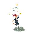 flat business woman dancing near money vector image