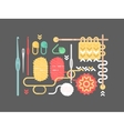 Knitting set Yarn pins buttons needle vector image
